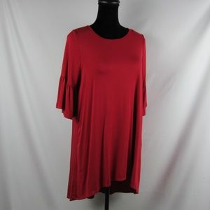 AGNES & DORA Large Swing Tunic Top Solid Red Soft